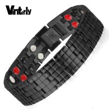Vinterly Health Energy Black Germanium Infrared Negative Ion Magnetic Stainless Steel Bracelet Man Hand Chain