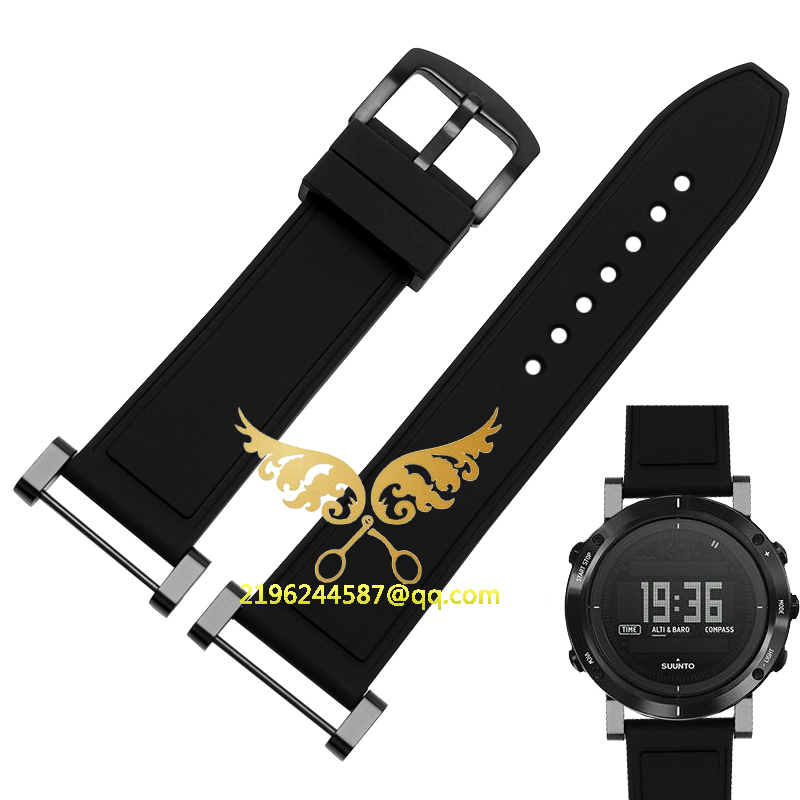 Free shipping For Suunto Core Watch Strap 24MM Black Soft Rubber Silicone+Stainless Buckle+PVD Adapters+Screwbars<br><br>Aliexpress