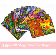 TCG 18pcs Anime English EX Mega GX Shiny Cards Charizard Figure Trading Cards  Playing Game Collections Toys For Kids Party Gift
