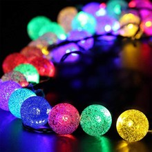 HOTOOK Novelty Solar Lamps Led Christmas Lights Outdoor 6m 30LEDs Crystal Ball String Lamp Pendant Fairy Wedding Garden Garland(China)