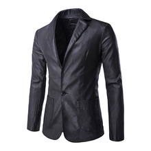 2016 New Men Leather Jacket Fashion Solid Single Breasted Pu Leather Blazer Coat jaqueta de couro black green