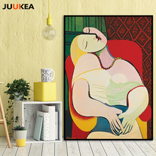 Pablo Picasso The Dream Figure Girl Portraits Oil Painting Canvas Print Painting Poster Wall Picture For Living Room Home Decor