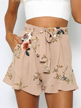 shorts women floral print short femme 2017 new summer style hot loose belt casual thin mid casual short women's plus size(China)
