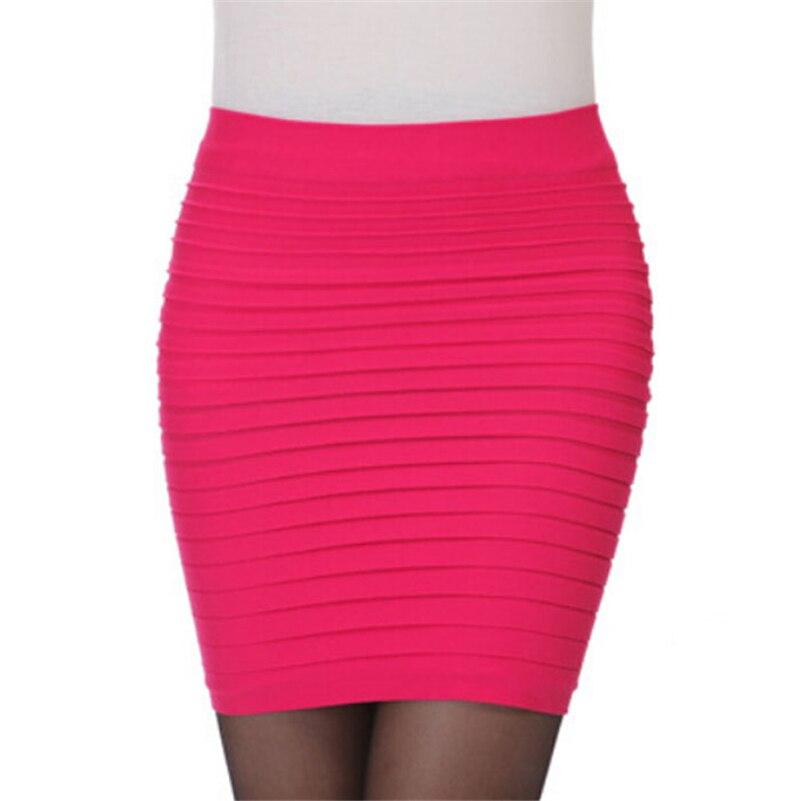 SEMIR Mode frauen Hohe Taille Gefaltete schwarz Mid-Länge Elastische Rock Promotions Dame Schwarz Rosa Party Casual Röcke