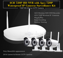 2/4CH 720P HD Wireless CCTV System WIFI NVR HDMI PORT WIFI IP Camera IR-CUT CMS Security Video Surveillance Kits