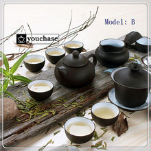 Promotion genuine Chinese yi xing clay kungfu tea set purple clay tea sets including 1 teapot + 1 gaiwan + 1 filter + 8 cups