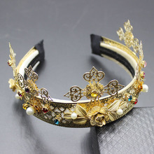 2017 new Korea Europe and the United States wind catwalk DG gold pieces of flowers inlaid precious hair hoop hair ornaments 136(China)