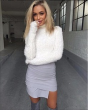 Muti-Colors Warm Hairy Knitted Pullover Enclosure Plush Short Sweater Basic Mohair Long Sleeve Turtleneck Kintted Tops(China)