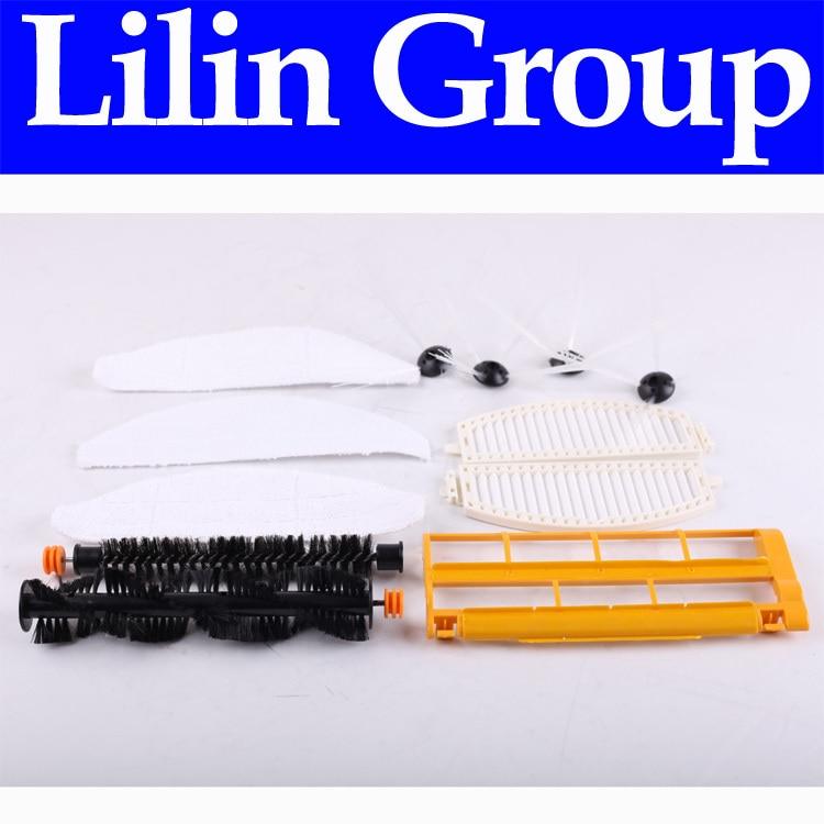 (For LL-D6601) Spareparts Pack for Robot Vacuum Cleaner LL-D6601,Main Brush,Dusting Brush,Side Brush,HEPA Filter,Brush Guard,Mop<br>