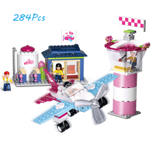 Models building toy 0608 284pcs Girl Friend Pink Dream Lighthouse Beacon Airport Building Blocks compatible with lego toys(China)