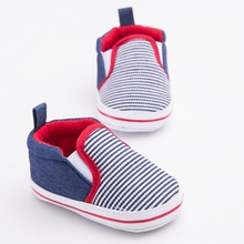 2016 Leisure Newborn Baby Boys Kids First Walkers Shoes Infant Crib Soft Bottom Striped Loafer Shoes Sapato Infantil Menino