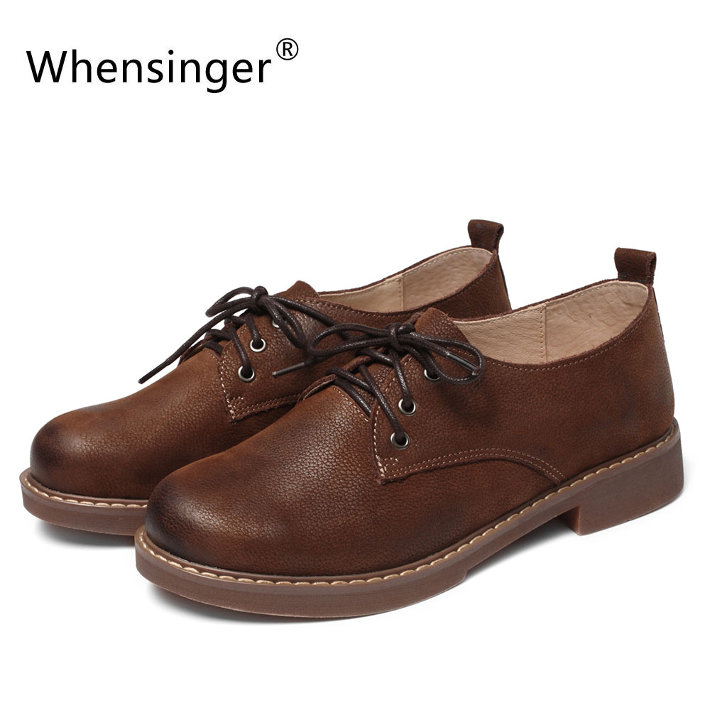 Whensinger - 2018 New Women Shoes Genuine Leather Lace-Up Flats Round Toe 2693<br>