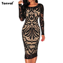 Tonval Lace Overlay Long Sleeve Women Dress Sexy Bodycon Night Club and Party Vestidos Black Knee Length Dress