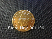 1855-0 LIBERTY HEAD (NO MOTTO ON REVERSE) $20 Gold one Dollar Copy Free Shipping Exact Coin