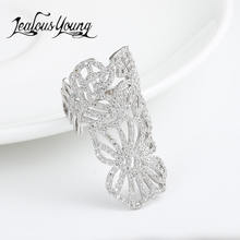 Luxury Flower Shape Adjustable Rings Inlay AAA Cubic Zircon Fashion Party Cuff Ring For Women Jewelry AR129(China)