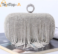 TenTop-A Elegant Evening Bag Lady's Tassel Finger Ring Rhinestone Silver Clutch Bags for Wedding Party Dinner Hard Shoulder bag(China)