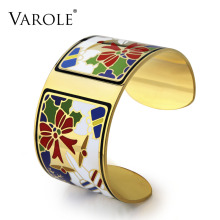 VAROLE Christmas Enamel Bangle Has Free Gift Jewelry Box Love Bracelets & Bangles Pulseiras Women Fashion Jewelry pulseiras(China)