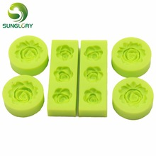 6PCS Baking 3D Fondant Silicone Rose Mold Flower Shaped Moldes De Silicona For Paste Americana Cake Decorating Tools Color Green