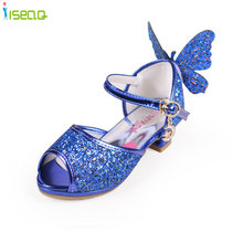 toddler elsa baby Girls sandals high heels  children fashion princess leather summer  shoes chaussure enfants fille sandalias