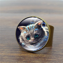 Alice In Wonderland Antique Ring Art Glass Dome Cheshire Cat Rings for Women Jewelry Vintage Bronze Ring Adjustable