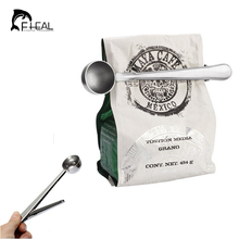 FHEAL Useful Coffee Tea Tool Stainless Steel Cup Ground Coffee Measuring Scoop Spoon with Bag Sealing Clip(China)
