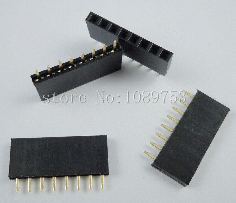 500PCS 8Pin 2.54mm Single Row Straight Female Pin Header 8P Strip PBC<br>