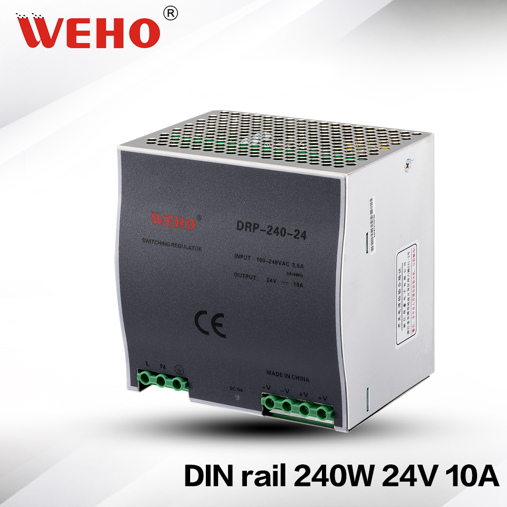 (DR-240-24) Cooling Aluminum shell 240W 10A 24V Switching power supply 240w 24v dc din rail power supplies<br>