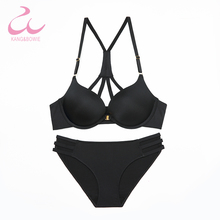 Buy Kang Bowie Push Women's Bra Sets Kit Front Magnet Clasp Seamless Underwear Panties Set Solid Ladies Fancy V Bras 36 38BC Sets
