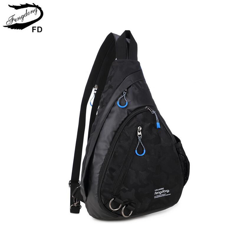 FengDong waterproof fabric male crossbody bag small black camouflage sling chest bag one shoulder bags for men bagpack daypack<br>