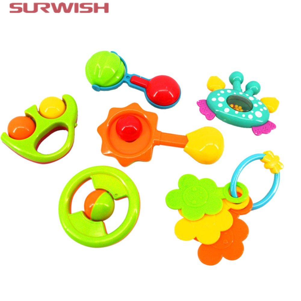 Surwish 6pcs / set Colorful Plastic Baby Hand Shake Bell Ring Rattles Toy Gift Set Children Education Toys