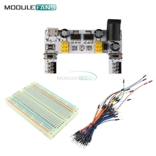 MB102 Breadboard Micro Usb Power Supply Module + 400 Tie Points Holes Universal Solderless PCB Breadboard + 65pcs Jumper Wires