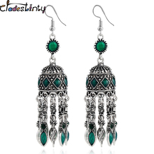 Buy Chadestinty Vintage Ethnic Earring Antique Silver Boho Statement Drop Earrings Long Dangle Tassel Earrings Indian Jewelry brinco for $3.37 in AliExpress store