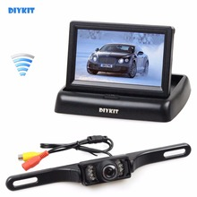 DIYKIT Wireless 4.3 Inch Car Reversing Camera Kit Back Up Car Monitor LCD Display HD Car Rear View Camera Parking System