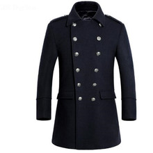 2017 Winter New Long Mens Overcoat High Quality Double Breasted Wool Coat