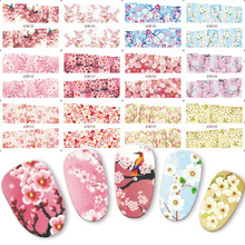 12PCS Charming Plum Blossom Flowers Nail Sticker 3 CONCERT EYES Water Transfer Nail Art Decal Pink Beauty Decorations BN073-084