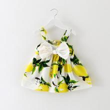 2017 New Casual Baby Dress Lemon Print Newborn Dress for Girls Slip Sleeveless Bow Baby Girls Clothes for Birthday Party