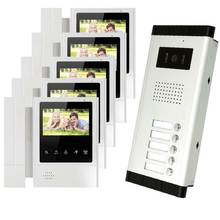 "4.3"" HD Monitor Apartment Video Door Phone Video Intercom Doorbell System 700 TVLine IR Camera Touch Key for 5 Families"