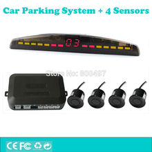 Car Parking Assistance System with 4 Parking Sensors Colorful LED Display Auto Backup Reverse Radar Alarm Kit(China)