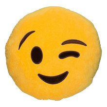 Cute Yellow Round Cushion Emoji Smiley Emoticon Pillow Stuffed Plush Soft Toy 32cm