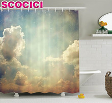 Vintage Decor Shower Curtain Set Magical Sky Looks Like Dream Space With Sun Rays Celestial Miracle Atmosphere Old Photo Bathroo