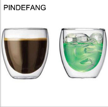 PINDEFANG 2pcs 250ml BODUM Double wall Glass Coffee Mug Novelty Daily Drinkware Juice Personal Water Tea Cup Wholesale gadget