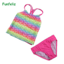 Buy Girls Bathing Suits Brand New two pieces bathing suit Children Cute Print Kids Tankini for $8.95 in AliExpress store