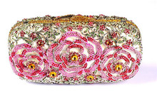 Luxury Designer Handbags for Women High Quality Australia Crystal Clutch Evening Bags Floral Brides Pink Clutch Bag for Cheap(China)