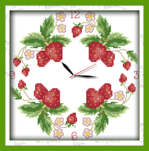Innovation items needlework kit DIY home decoration counted cross stitch kit clock embroidery set - The lovely strawberries