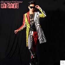 S-5XL ! 2017 (suit+pants) Nightclub Men's New singer DS DJ zhi-long style DG Colored line suit trousers Male bar stage costumes(China)