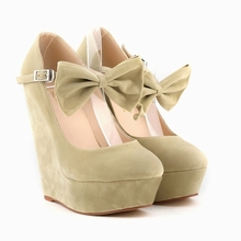 LOSLANDIFEN Platform Women's Pumps Sexy High Heels Bow Wedges Shoes for Woman Flock Wedding Party Shoes Autumn Summer 391-3VE(China)