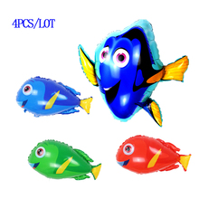 Mixed 4pcs/lot dolly fish foil balloons classic toys Inflatable animal helium Globos dory ballon happy birthday party supplies