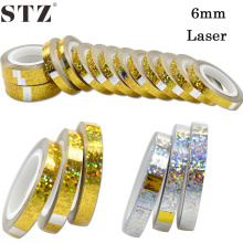 STZ 6mm 15pcs/sets New Designs Laser Glitter Gold/Silver DIY Wave Rolls Nail Art Striping Sticker Foils Decorations NJ202