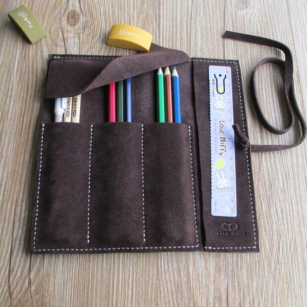 HighQuality vintage 20.5*20cm largespace school pencil case cowhide leather pencil bag estuche school astuccio scuola pencil box<br><br>Aliexpress