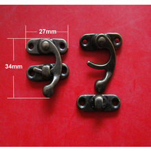 10 Sets Antique Brass Metal Hook Purse Hasp Lock Vintage Wooden Jewelry Box Latches Clasp Hasps Buckle 29*33mm Free Shipping